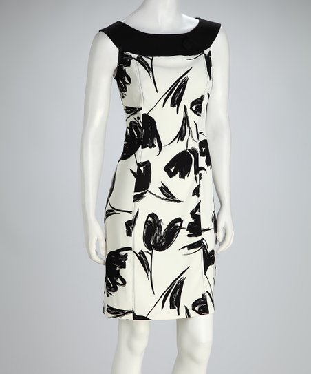 Black & White Floral Boatneck Sleeveless Dress