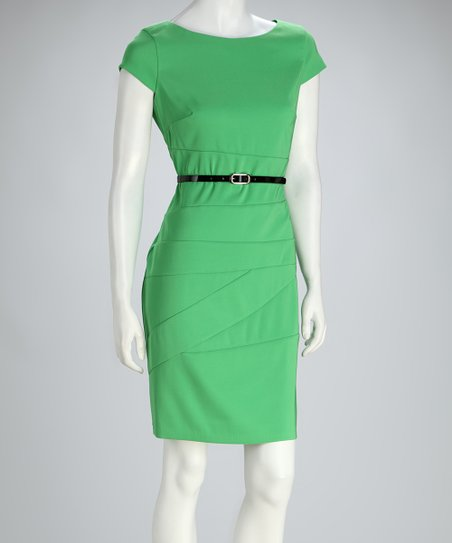 Green Asymmetrical-Seam Belted Cap-Sleeve Dress