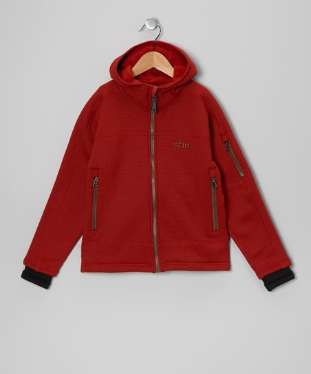 Dark Orange Seeker Zip-Up Hoodie - Kids