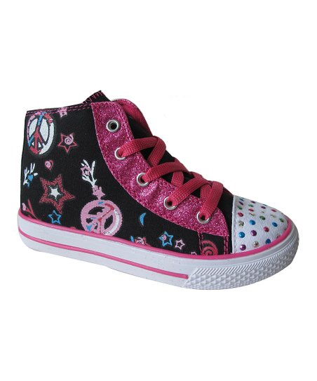 Black & Fuchsia Dotty Hi-Top Sneaker