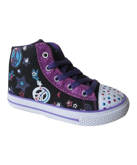 Black & Purple Dotty Hi-Top Sneaker
