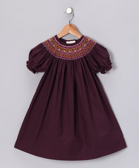 Burgundy Flower Bishop Dress - Toddler & Girls