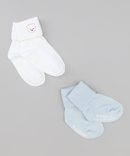 White & Light Blue Bear Socks Set
