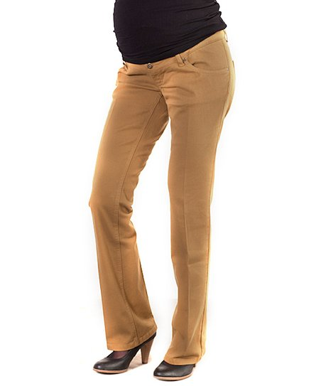 Khaki Maternity Flare Pants
