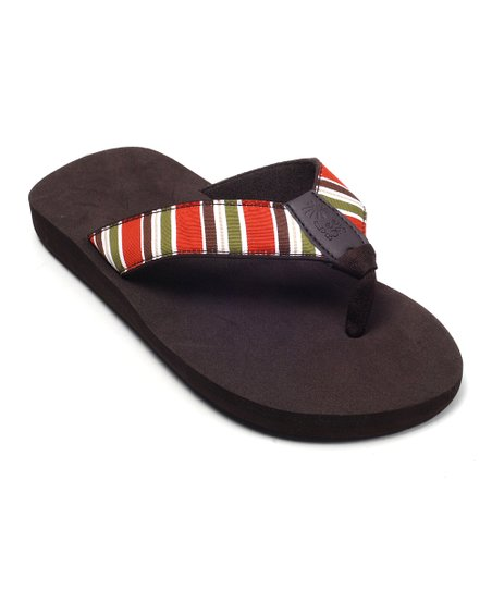 Brown Stripe Bop 07 Flip-Flop - Women
