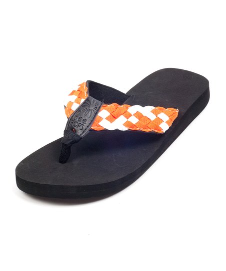 Black & Orange Braid Bop 40 Flip-Flop - Women