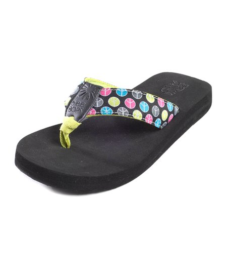 Black & Green Peace Dot Bop 77 Flip-Flop