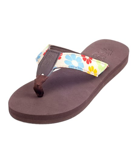 Brown &amp; Tan Floral Bop 97 Flip-Flop