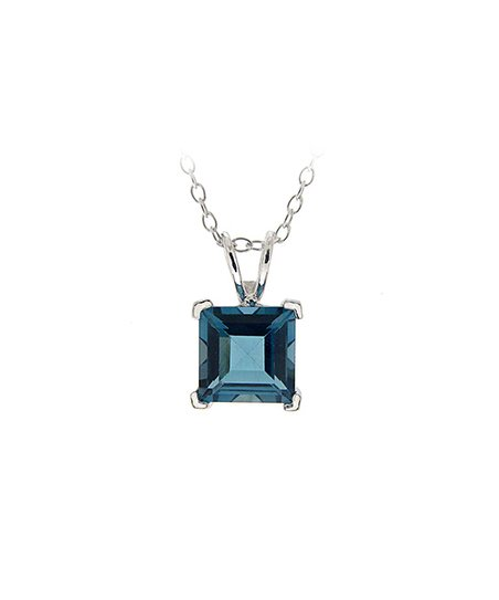 London Blue Topaz & Sterling Silver Princess Pendant Necklace