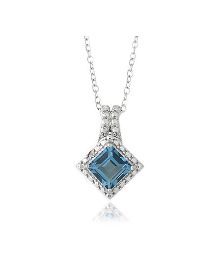 London Blue Topaz, Diamond & Silver Princess Pendant Necklace