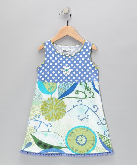 Blue & Green Pom-Pom Dress - Toddler & Girls