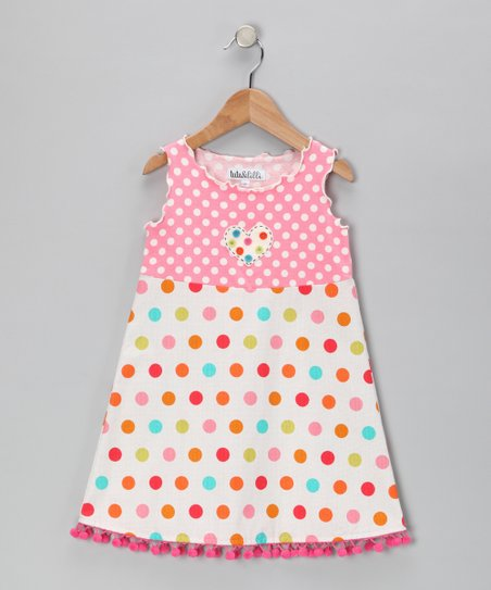 Pink Polka Dot Pom-Pom Dress - Toddler & Girls