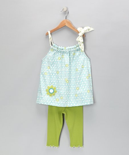 Blue Circle Swing Top & Capri Leggings - Toddler & Girls