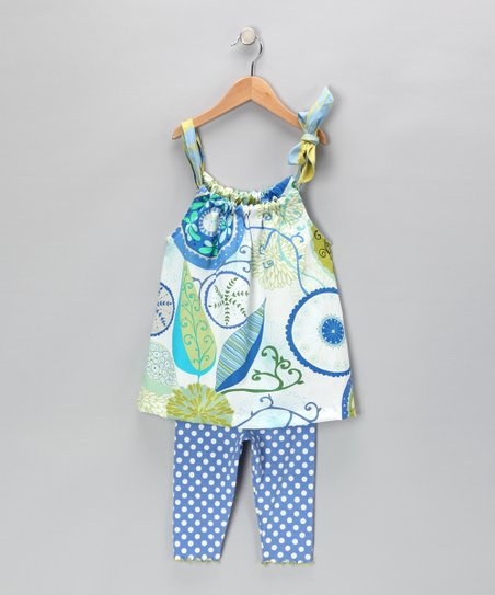 Blue Abstract Swing Top & Capri Leggings - Toddler & Girls