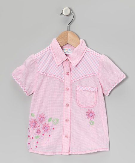 Pink Flower Blouse - Girls