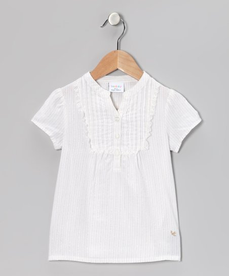 White Stripe Henley - Infant, Toddler & Girls