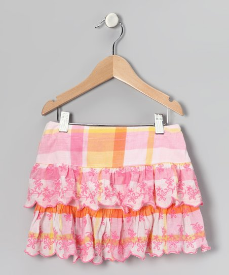 Yellow & Pink Plaid Flower Ruffle Skirt - Girls
