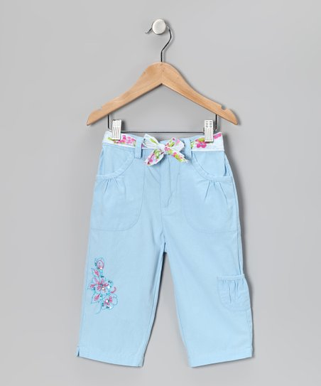 Blue Flower Capri Pants - Girls