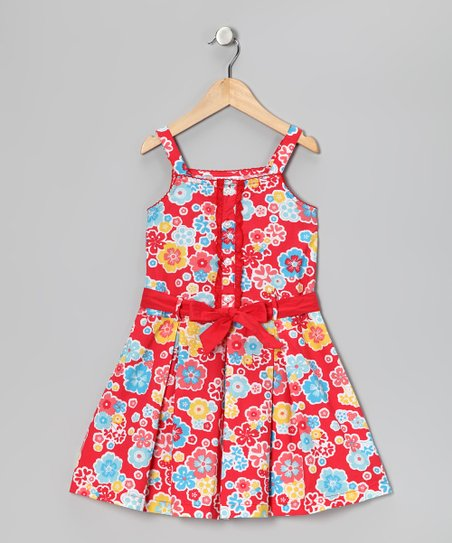 Red & Blue Floral Dress - Girls