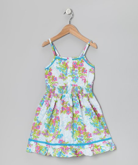 White & Turquoise Floral Dress - Girls