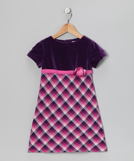 Purple Plaid Flower Dress - Girls
