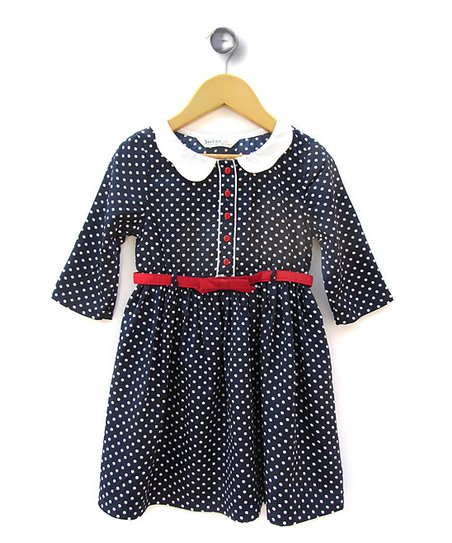 Navy Polka Dot Dress - Girls