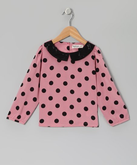 Pink & Black Polka Dot Sequin Top - Girls
