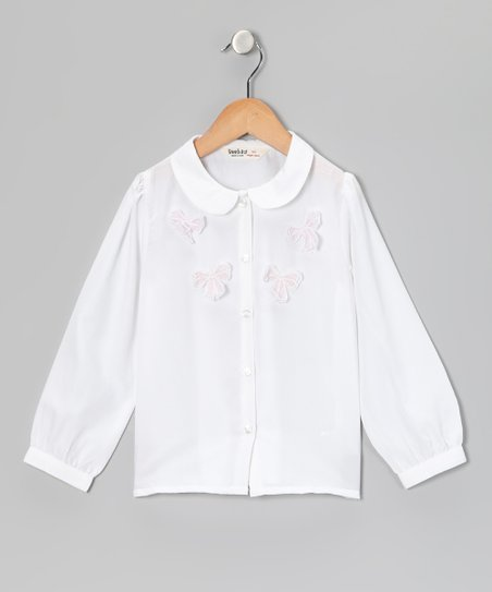 White & Pink Bow Blouse - Girls