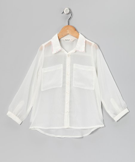 Off-White Sheer Button-Up - Girls