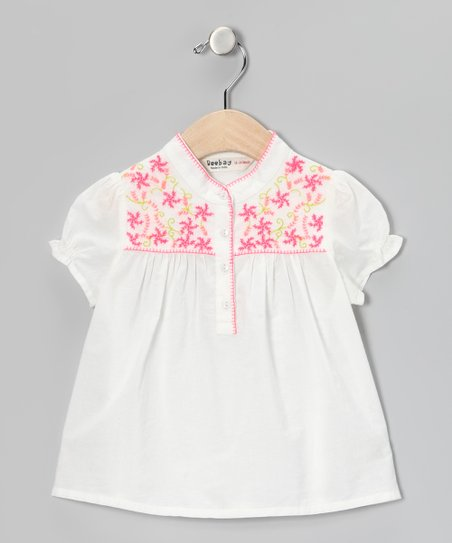 Off-White Swirl Flower Top - Girls