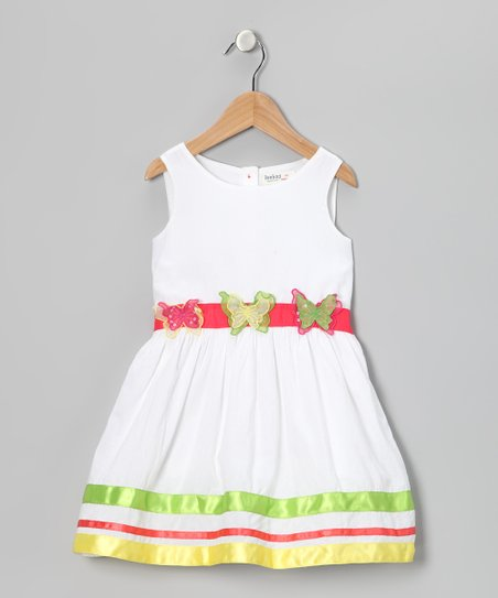 White & Green Butterfly Dress - Girls