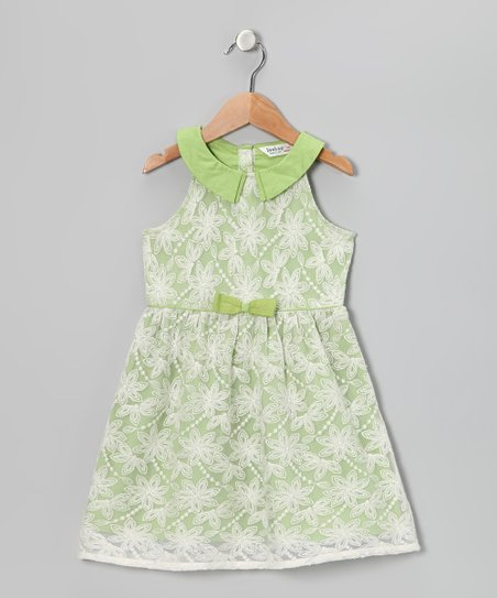 Green Grass Bow Dress - Girls
