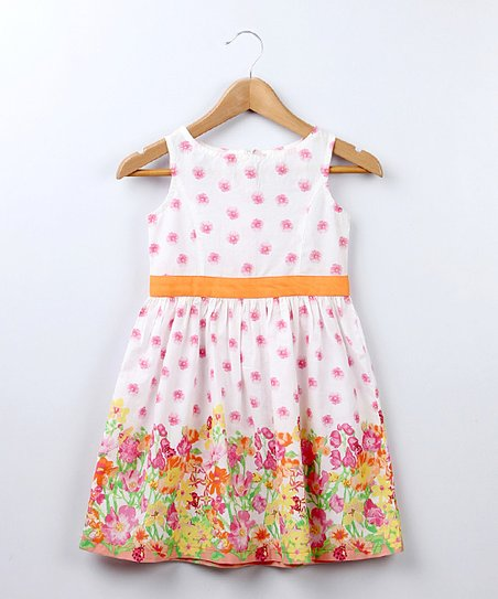 Orange Floral Border A-Line Dress - Girls