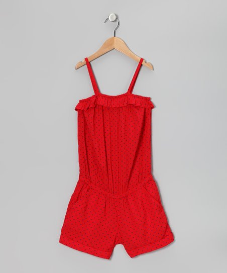 Red Polka Dot Romper - Girls