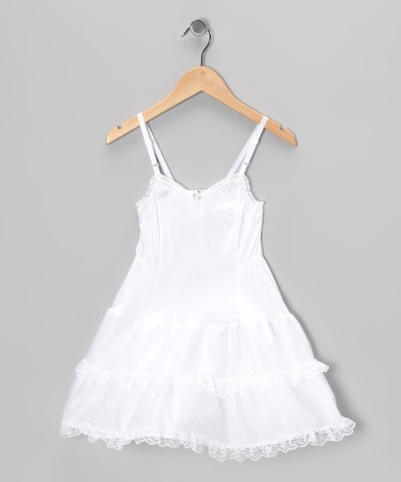 White Floral &amp; Lace Slip - Girls