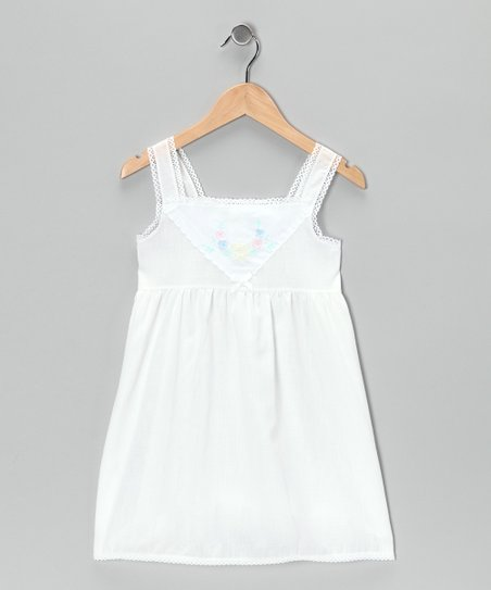 White Floral Embroidered Slip - Toddler & Girls