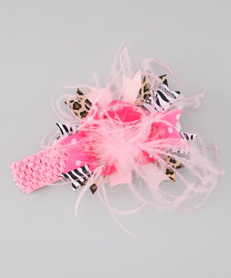Light Pink Zebra Bow Crochet Headband
