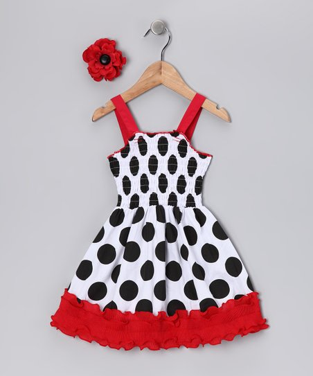 White Polka Dot Flower Dress - Infant &amp; Toddler