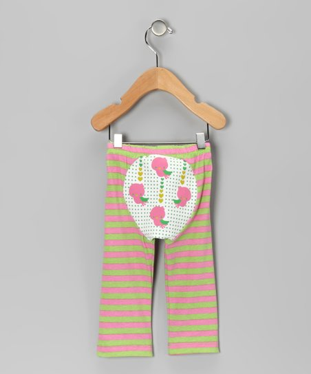 Pink &amp; Green Stripe Tweet Tweet Pants - Infant &amp; Toddler