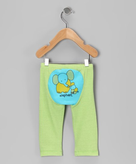 Blue & Green Stripe Elephant Pants - Toddler