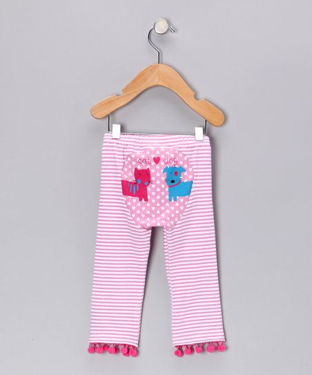 Pink Stripe Cat & Dog Love Pants - Infant & Toddler