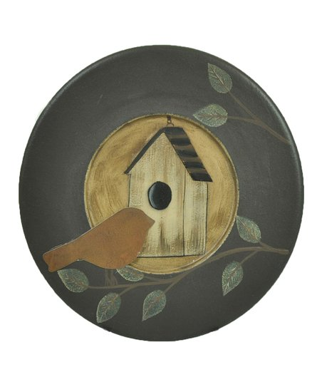 Sage & White Bird House Decorative Plate