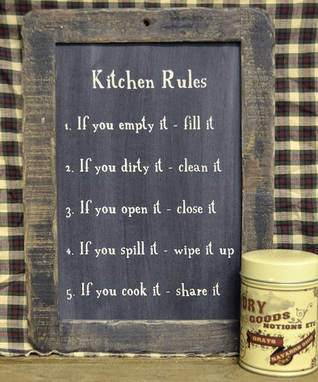 'Kitchen Rules' Blackboard Wall Art