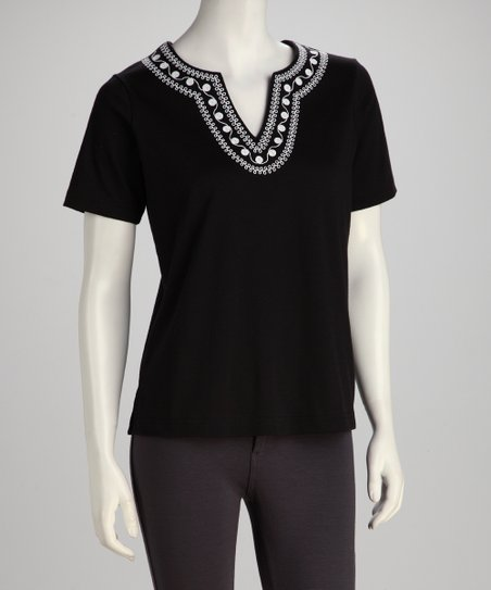 Black & White Embroidered Top - Women, Petite & Plus