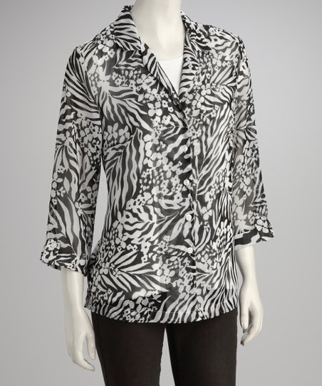 Black & White Animal Layered Top - Women & Plus