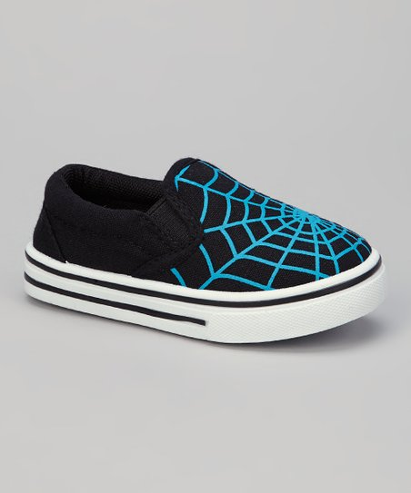 Black & Blue Spiderweb Slip-On Shoe