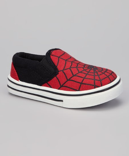 Red & Black Spiderweb Slip-On Shoe