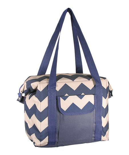 Blue & Tan Zigzag Convertible Cooler Bag
