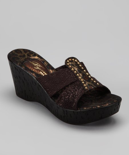 Black Animal Nanor Wedge Sandal