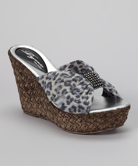 Gray Leopard Suede Tina Wedge
